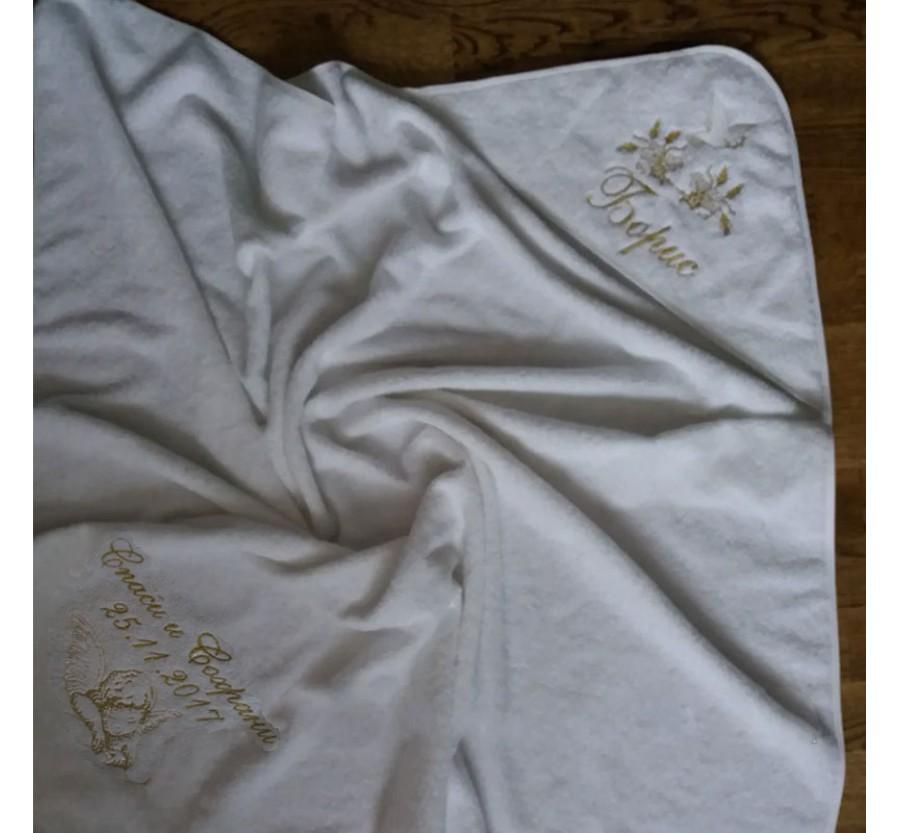 Крыжма Именная, Махровая для крещения, 100х100 см. Белая