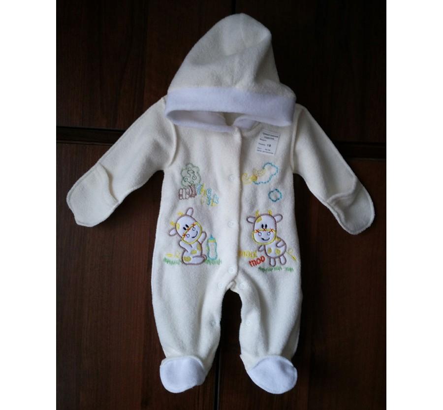 Человечек для новорождённых, Махра с начёсом, 56 см, Молочный с рисунком