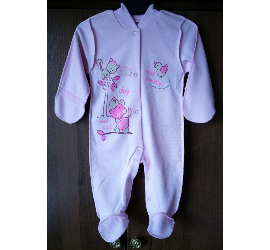 Человечек для новорождённых, Интерлок (Трикотаж хлопок 100%), 56-62 см, Розовый с рисунком