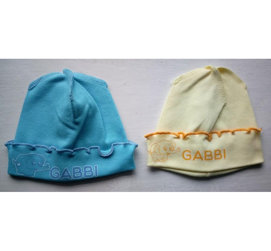 Шапочка для новорождённых ТМ Габби, Интерлок (Трикотаж хлопок 100%), 56см, цвет Жёлтый, Бирюзовый