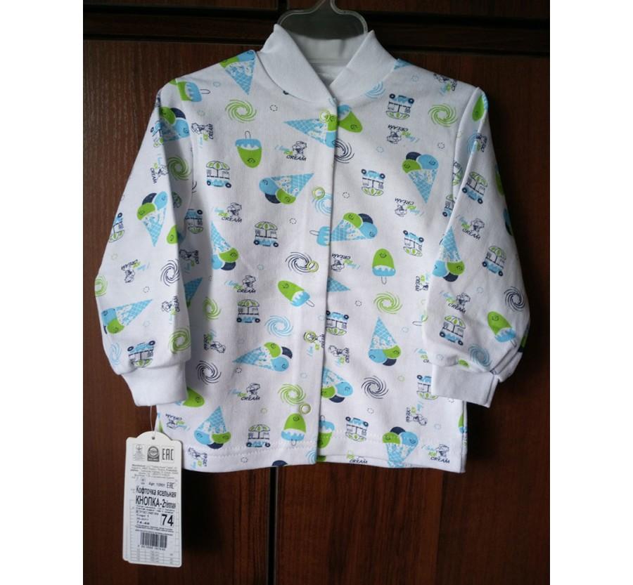 Кофта на кнопках тёплая ТМ ГАББИ, Байка, белая с голубым рисунком, 74 см