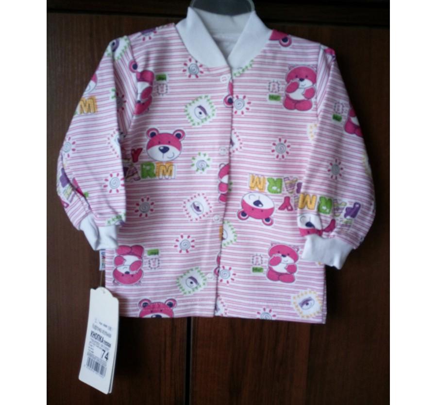 Кофта на кнопках тёплая ТМ ГАББИ, Байка, Розовая, 74 см