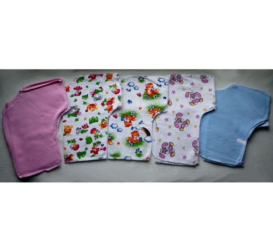 Распашонка с коротким рукавом, Байка, 56 см, цвет Голубой, Розовый, С рисунком