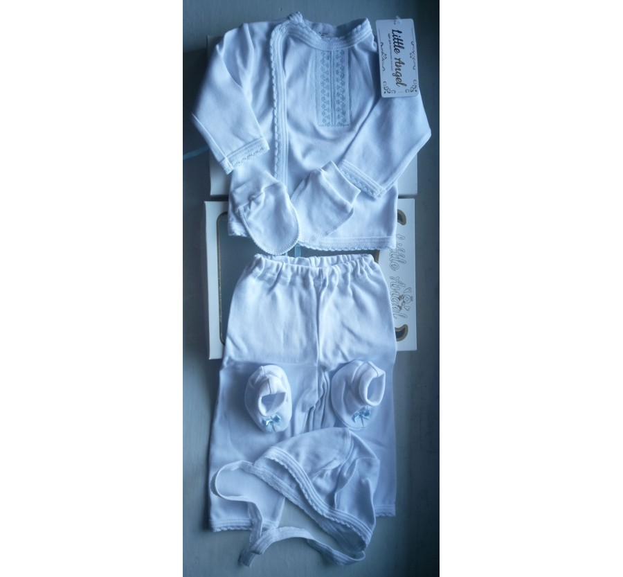 Комплект ТМ Little angel, Белый с голубой вышивкой, 62 см, Интерлок (Трикотаж хлопок 100%)
