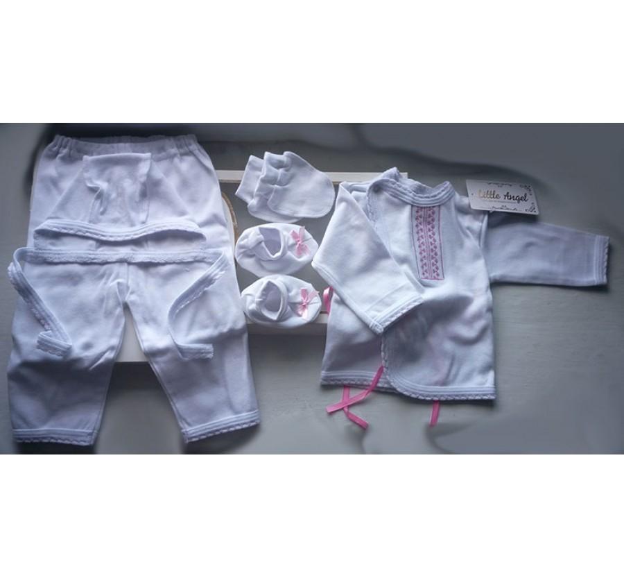 Комплект ТМ Little angel, Белый с розовой вышивкой, 62 см, Интерлок (Трикотаж хлопок 100%)