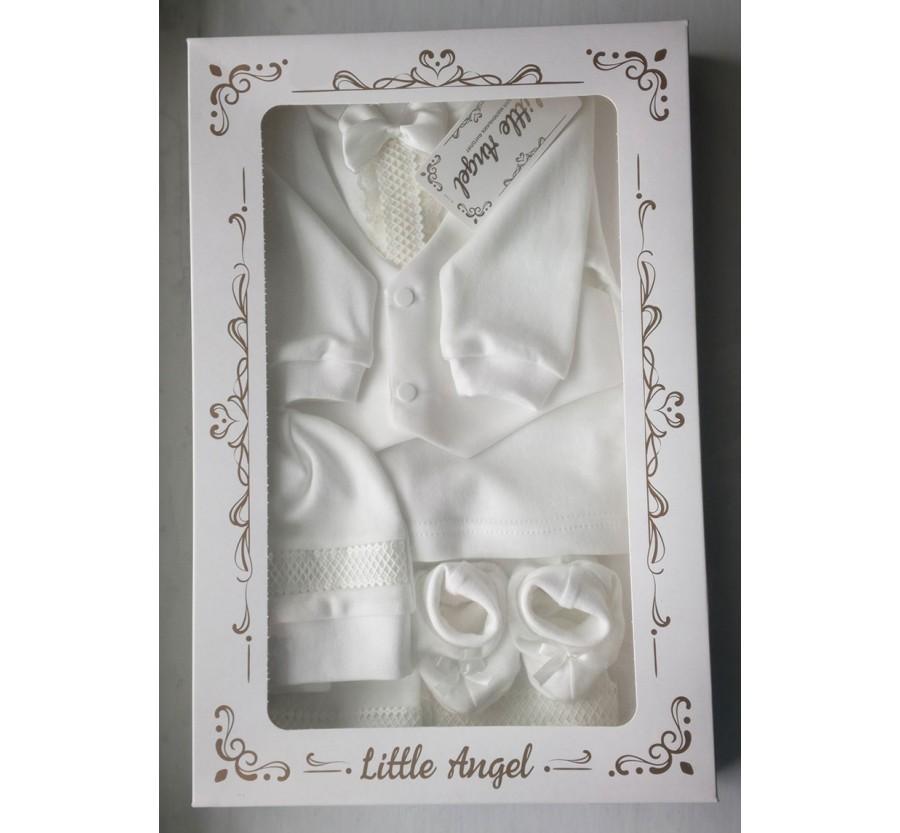 Комплект ТМ Little angel для мальчика, Интерлок (Трикотаж хлопок 100%), 62 см, Молочный