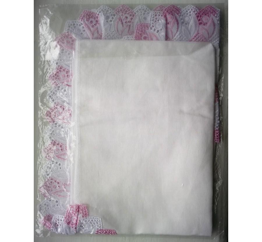 Уголок кружевной для новорождённых, Ситец (Хлопок 100%), 80*80 см, Белый с розовым кружевом