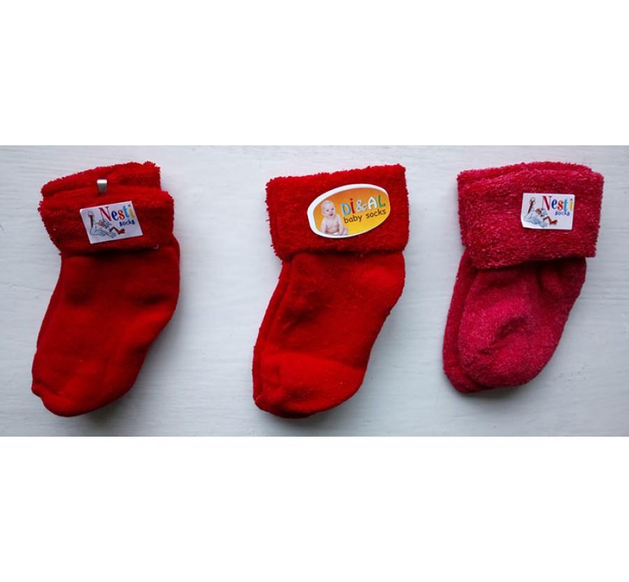 Носки махровые для новорождённых, возраст от 0 до 4 месяцев, производство Турция, Красные