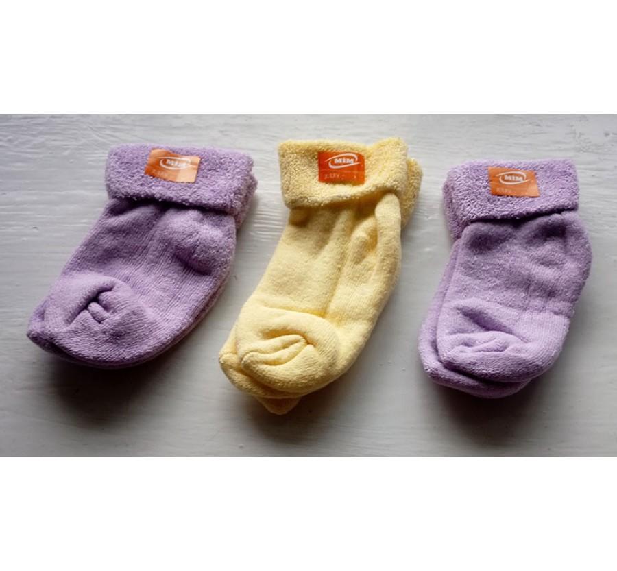 Носки махровые для новорождённых, возраст от 0 до 4 месяцев, производство Турция, Фиолетовые, Жёлтые