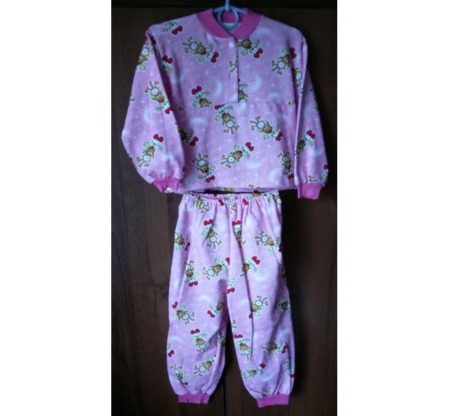 Пижама тёплая с розовым рисунком, Байка, рост 98-104 см (3 года)