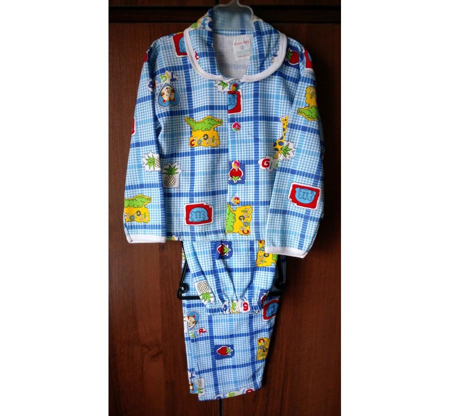 Пижама тёплая с голубым рисунком на пуговицах, Байка, рост 92 (2 года) производство Турция