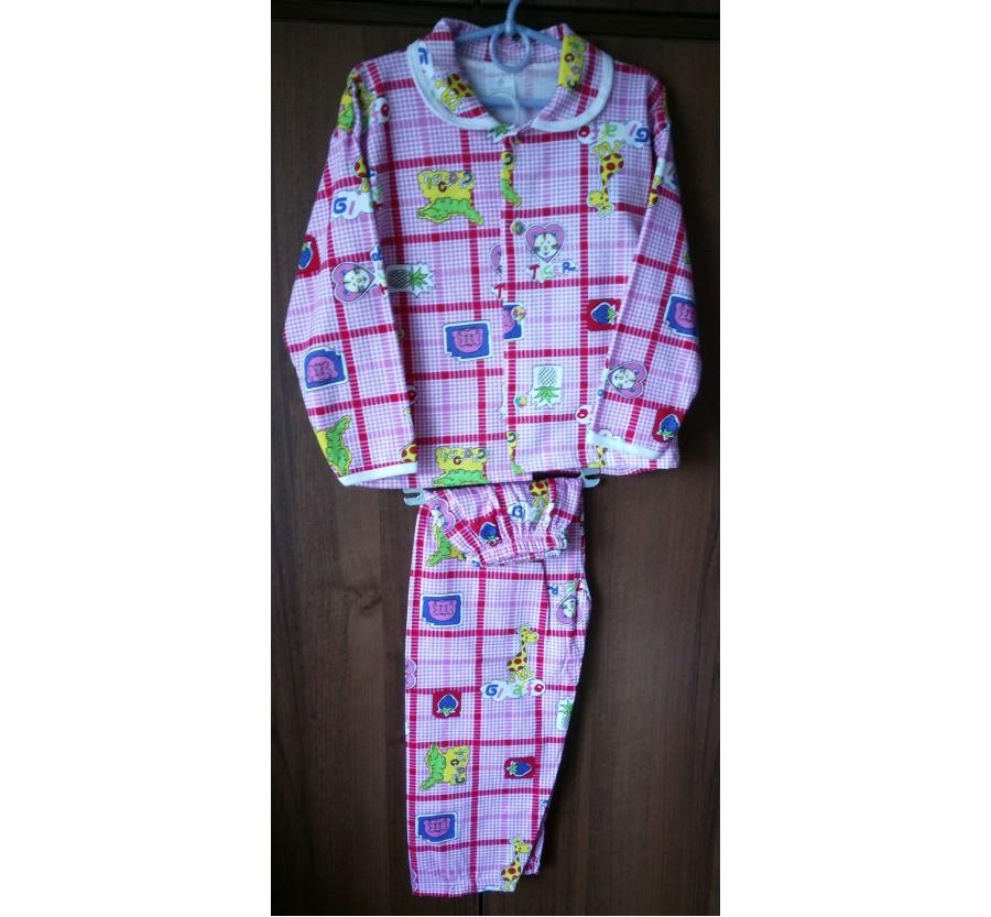 Пижама тёплая для девочки на пуговицах, Байка,  рост 122 - 128 см, производство Турция