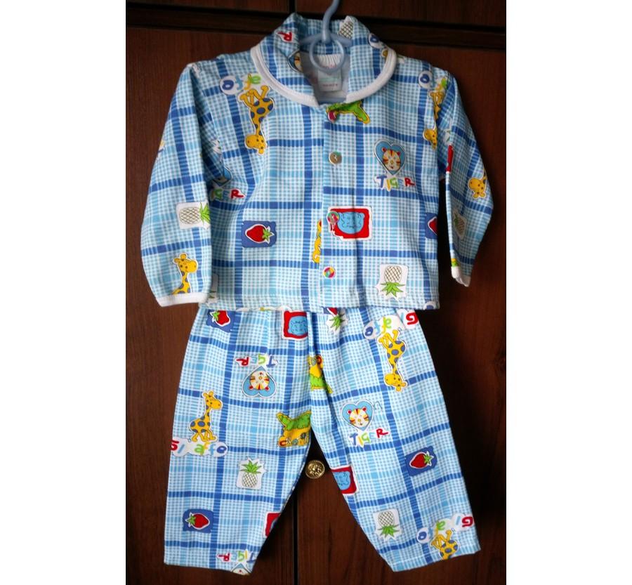 Пижама тёплая с голубым рисунком на пуговицах, Байка, рост 86, производство Турция