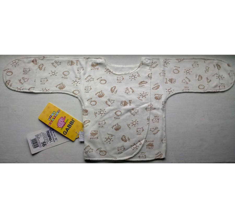 Распашонка ТМ Габби на кнопках, Байка, 56 см, Молочная с коричневым рисунком