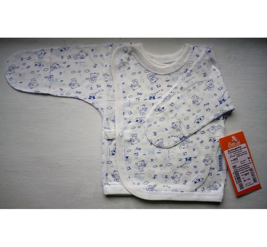 Распашонка Бемби РП7, Кулир (тонкий Трикотаж хлопок 100%), 50 (на рост 56см), Белая с голубым рисунком