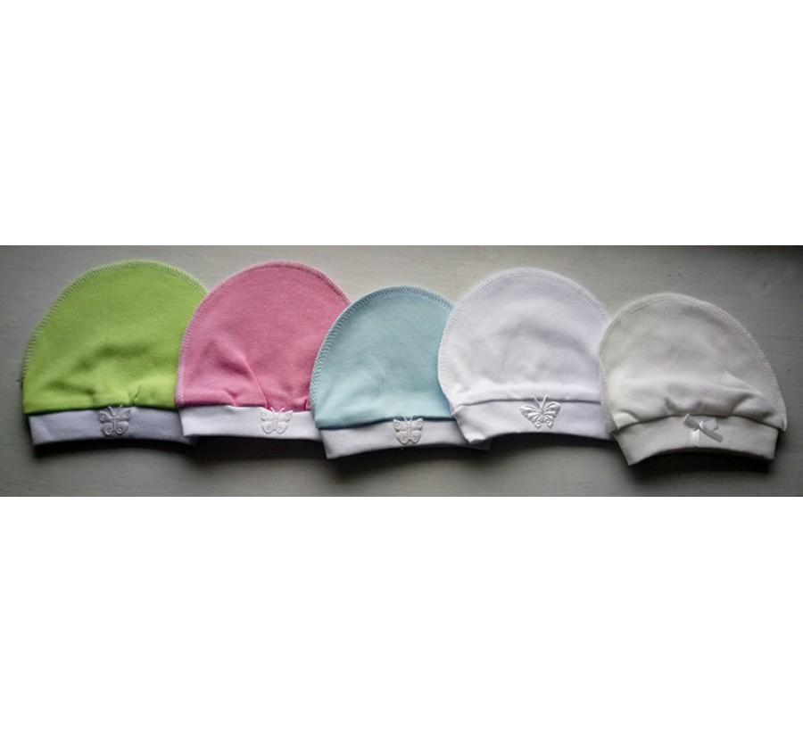 Шапочка для новорождённых ТМ Little angel, Интерлок (Трикотаж хлопок 100%), 56 см, Цвет Молочный, Розовый, Голубой, Белый, Салатовый