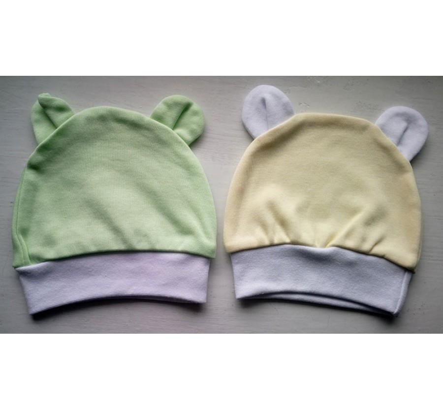Шапочка с ушками для новорождённых ТМ Little angel, Байка, 56 см, Цвет  Салатовый, Жёлтый