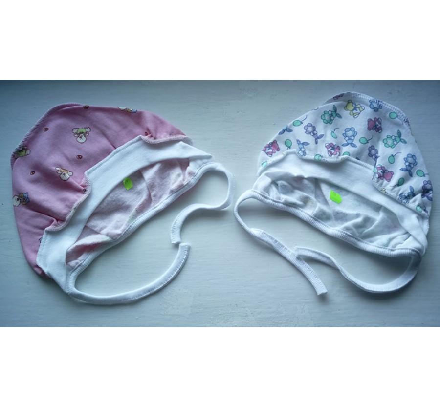 Шапочка на завязках, Байка, 68, 74 см, цвет Белый с рисунком ( 68 см), Розовый (74 см)