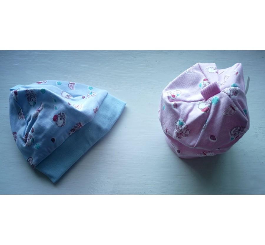 Шапочка без завязочек, Байка, 56 см, Голубая, Розовая