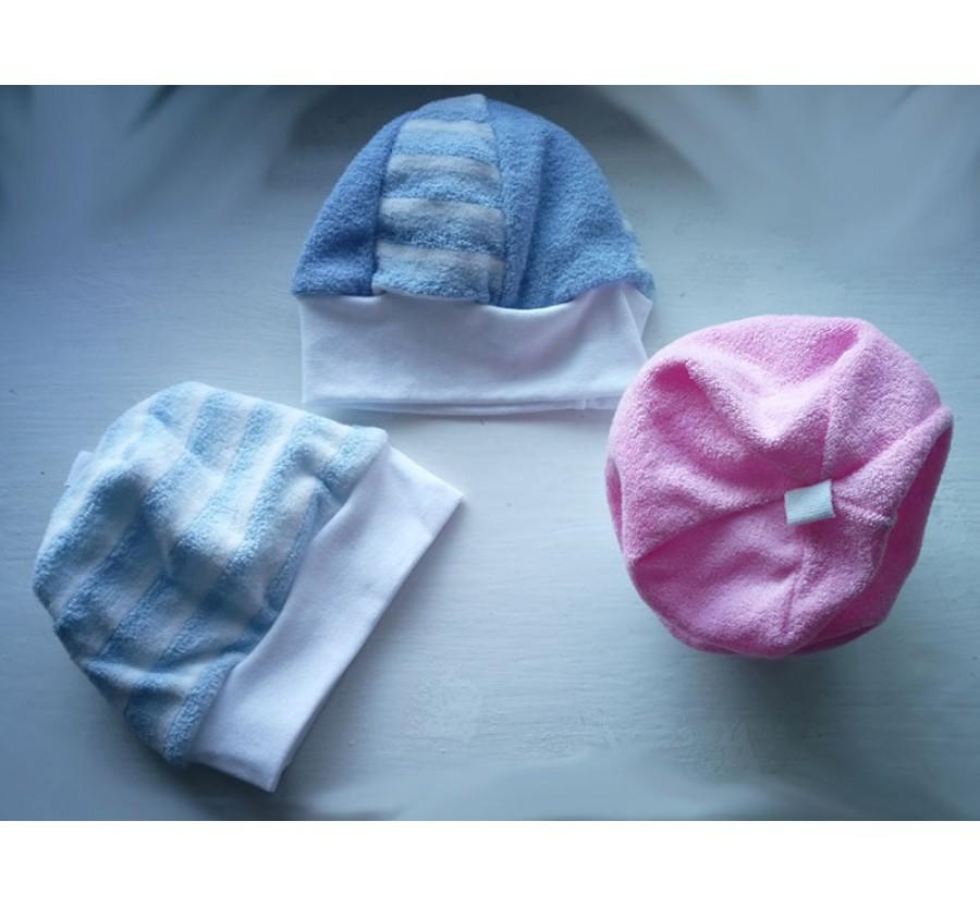 Шапочка тёплая, Махра с начёсом, 56 см, Голубая, Розовая, Бирюзовая