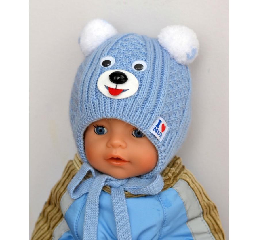 Шапочка вязанная зимняя  для новорождённых, размер 35-39 (0-3мес), на плюшевой подкладке, Голубая