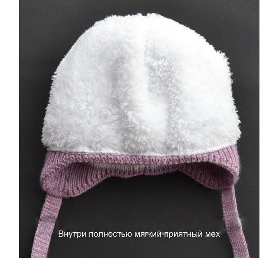 Шапочка вязанная зимняя  для новорождённых, размер 35-39 (0-3мес), на плюшевой подкладке, Молочная с бусинками