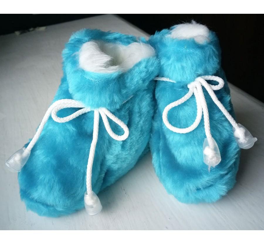Пинетки Тёплые для новорождённых, возраст от 0 до 6 месяцев, Вельсофт, цвет Бирюзовый