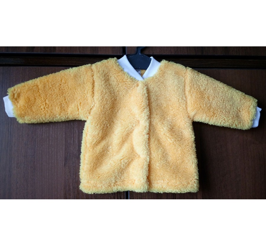 Кофта на кнопках тёплая, Вельсофт, Жёлтая, 56 см