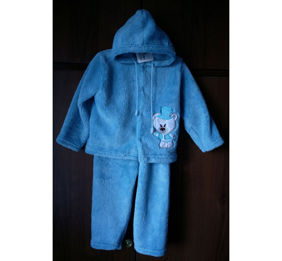 Комплект тёплый детский с вышивкой. Вельсофт. Голубой, 80 см ( 9-12 мес )