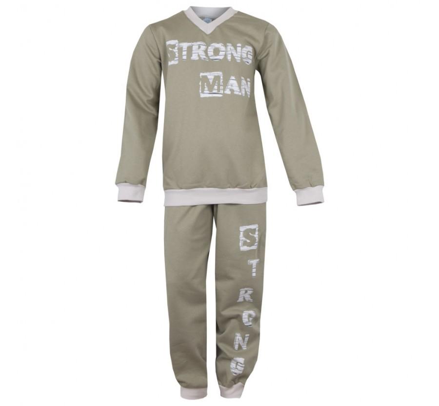 Пижама для мальчика ТМ Габби, рост 122 - 128см, байка, цвет оливковый