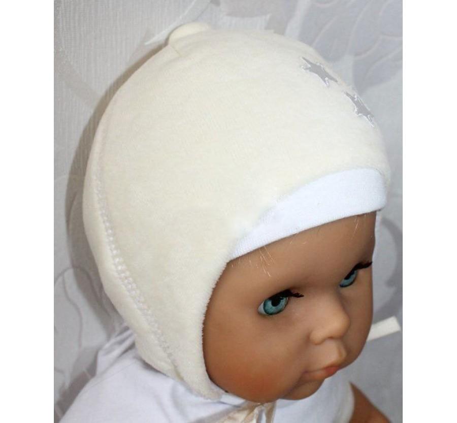 Шапочка  для  новорождённых р.38 (0-3мес),  осень-зима, велюровая на синтепоне, Молочная