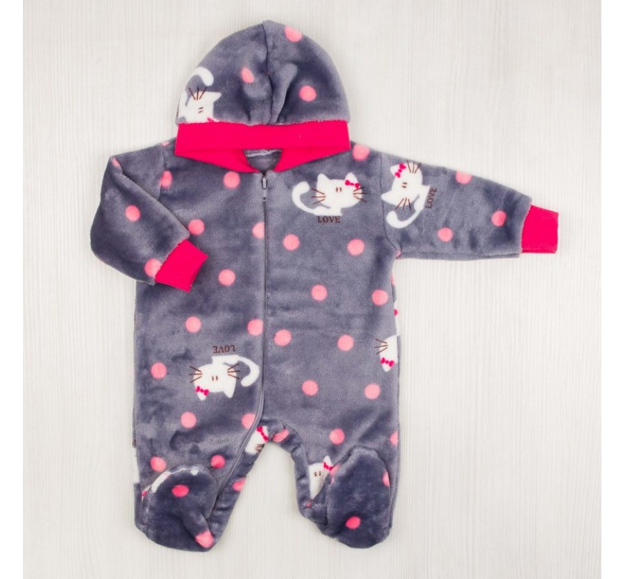 Человечек для новорождённых серый с розовым 56-62 см (0-3мес)