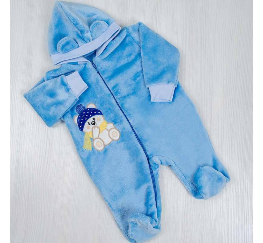 Человечек для новорождённых *Мишка* голубой 56-62 см (0-3мес)