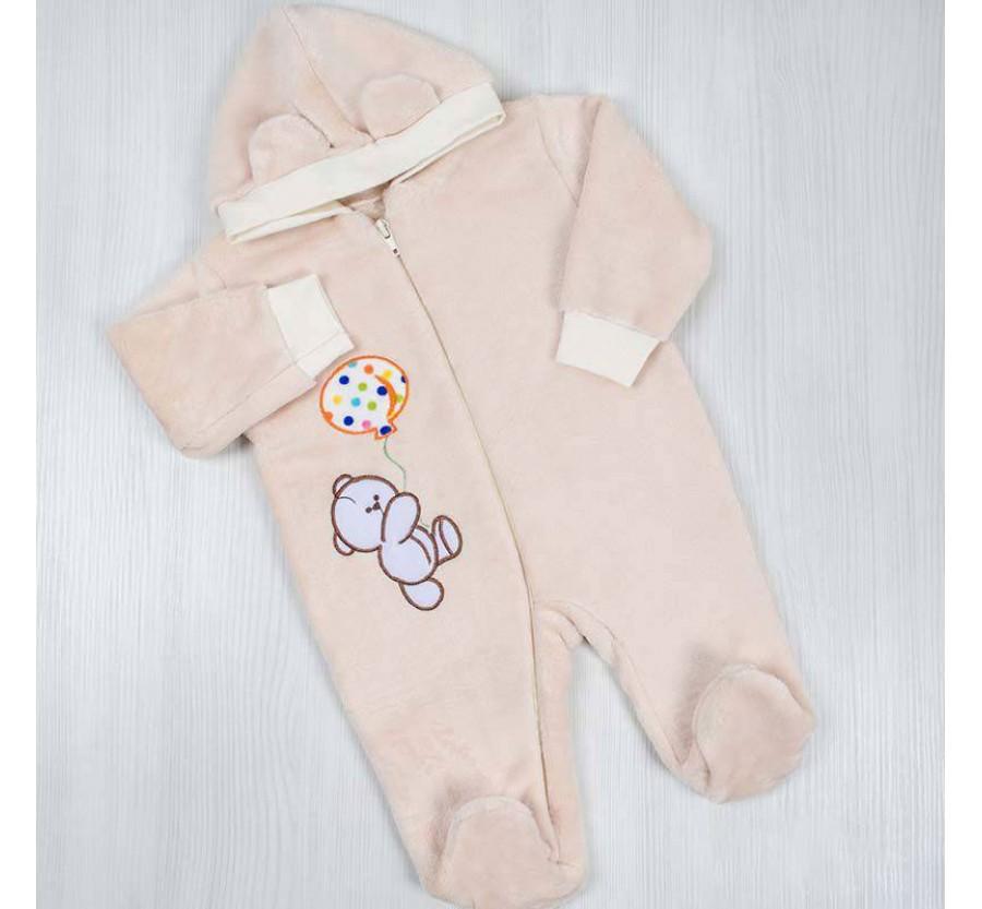 Человечек для новорождённых *Мишка* Белый, Молочный 56-62 см (0-3мес)