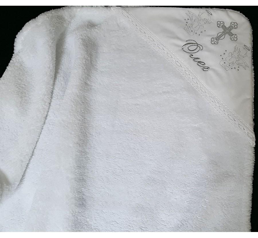 Крыжма Именная, Махровая Вельсофт для крещения, 90х90 см. Белая
