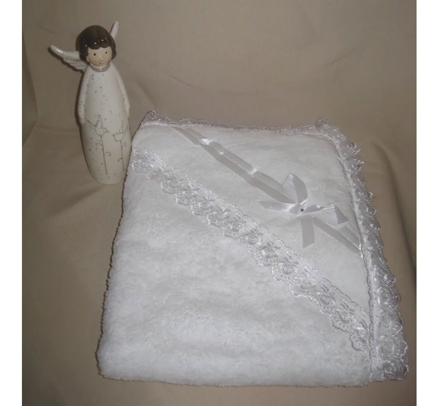 Крыжма-плед с капюшоном тёплая. Белая, 95*80 см