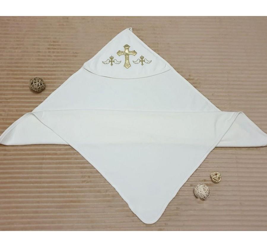 Крыжма-полотенце с капюшоном, белая с серебряной вышивкой, молочная с золотой вышивкой 90*80 см