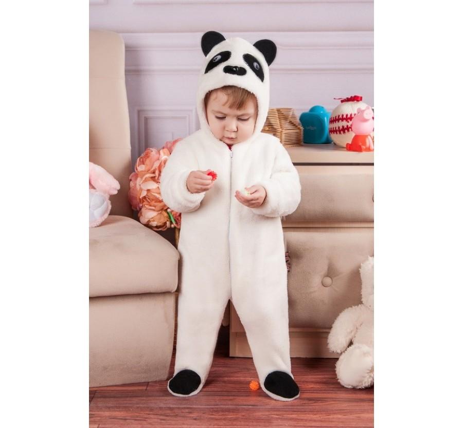 Человечек для новорождённых *Панда* молочный 62 см (0-3мес)
