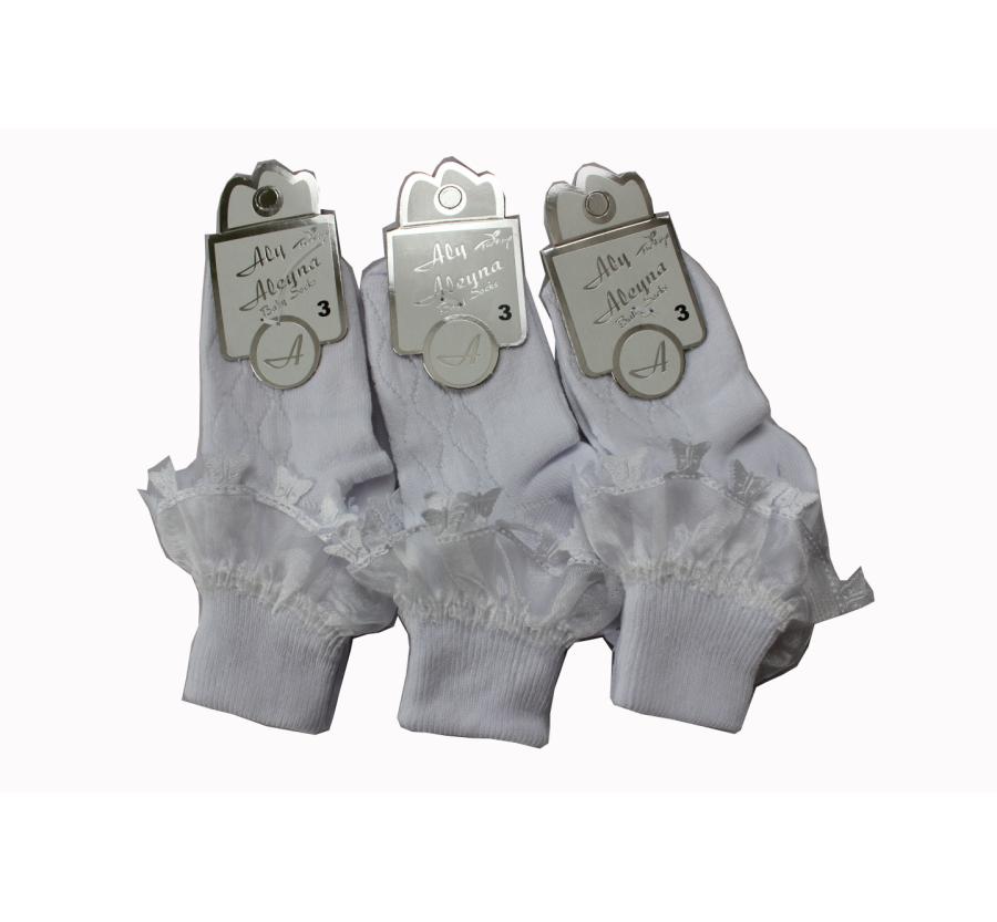 Носки c кружевом  для новорождённых для крещения. Возраст от 0 до 3месяцев