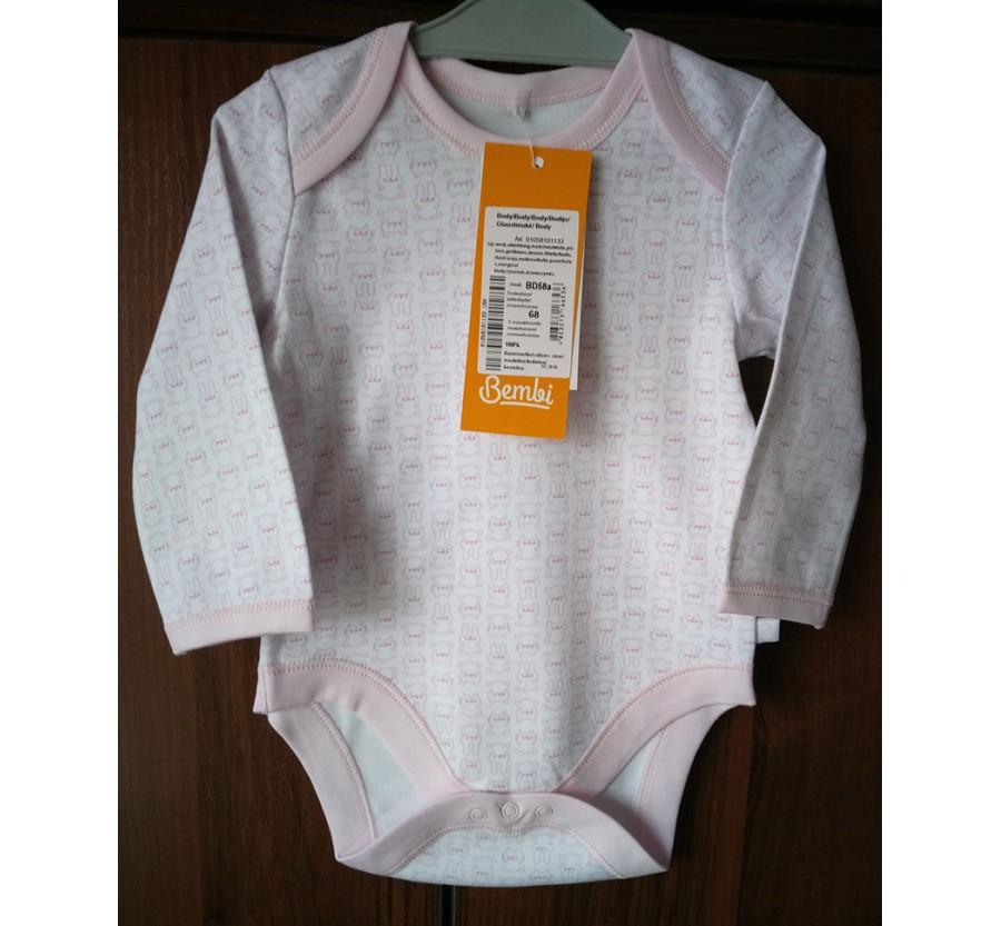 Боди Бемби БД58а Интерлок (Трикотаж хлопок 100%), 68 см (5 месяцев), с Розовым рисунком