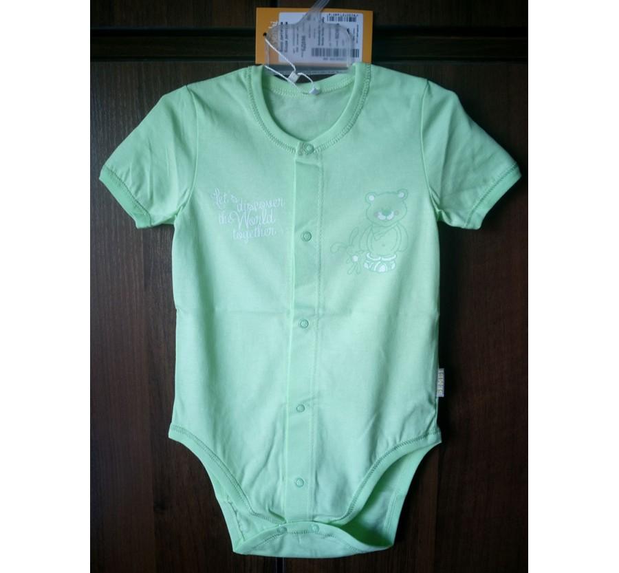 Боди Бемби БД59б с коротким рукавом, Супрэм (тонкий Трикотаж хлопок 100%), 80 см (9 месяцев), цвет Салатовый