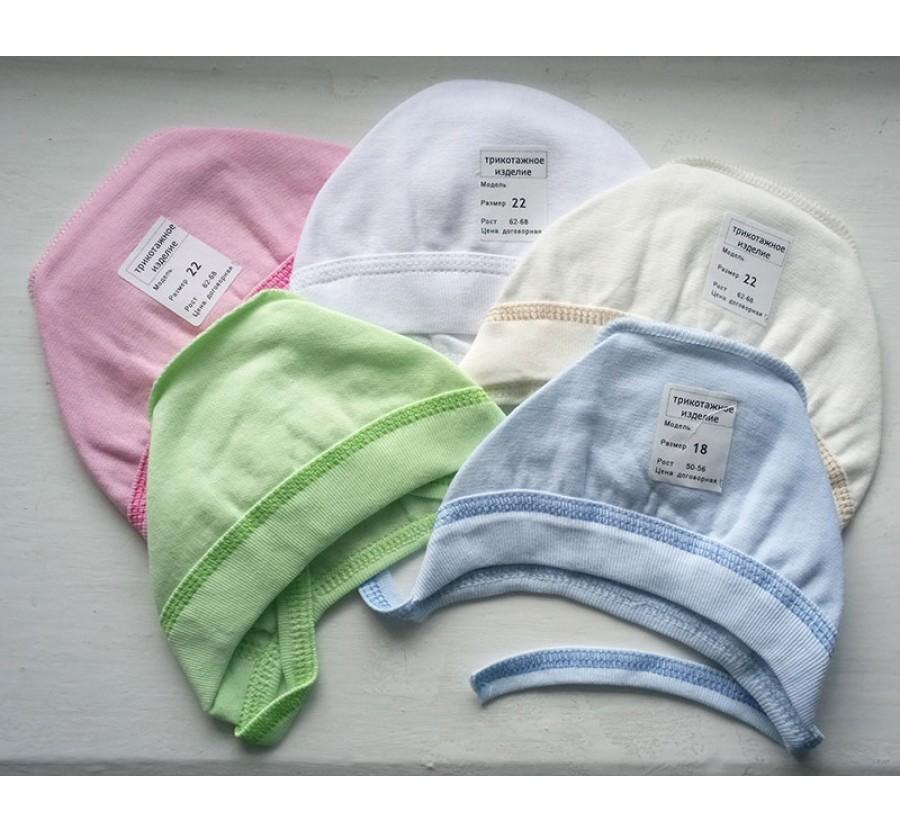 Шапочка на завязках, Байка, цвет Белый, Голубой, Розовый, Молочный, Зелёный