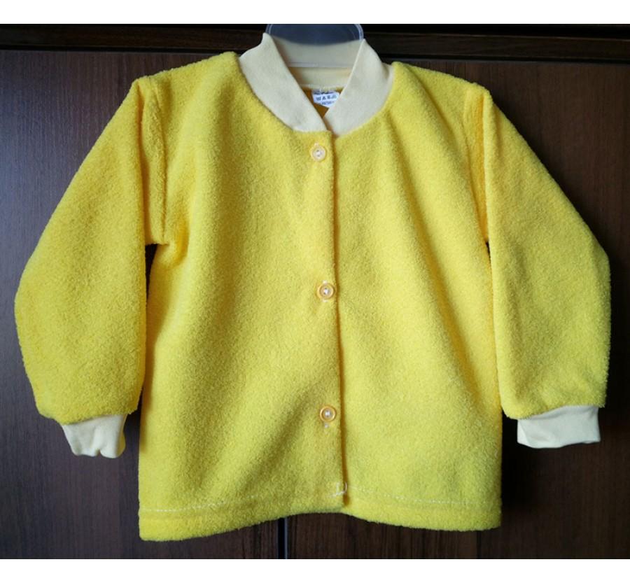 Кофта на пуговицах махра с начёсом 74 см, цвет Голубой, Жёлтый