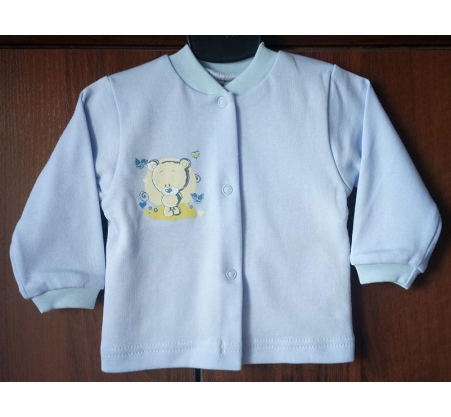 Кофточка однотонная ТМ Little angel, Интерлок (Трикотаж хлопок 100%) на кнопках, 68 см, цвет Голубой