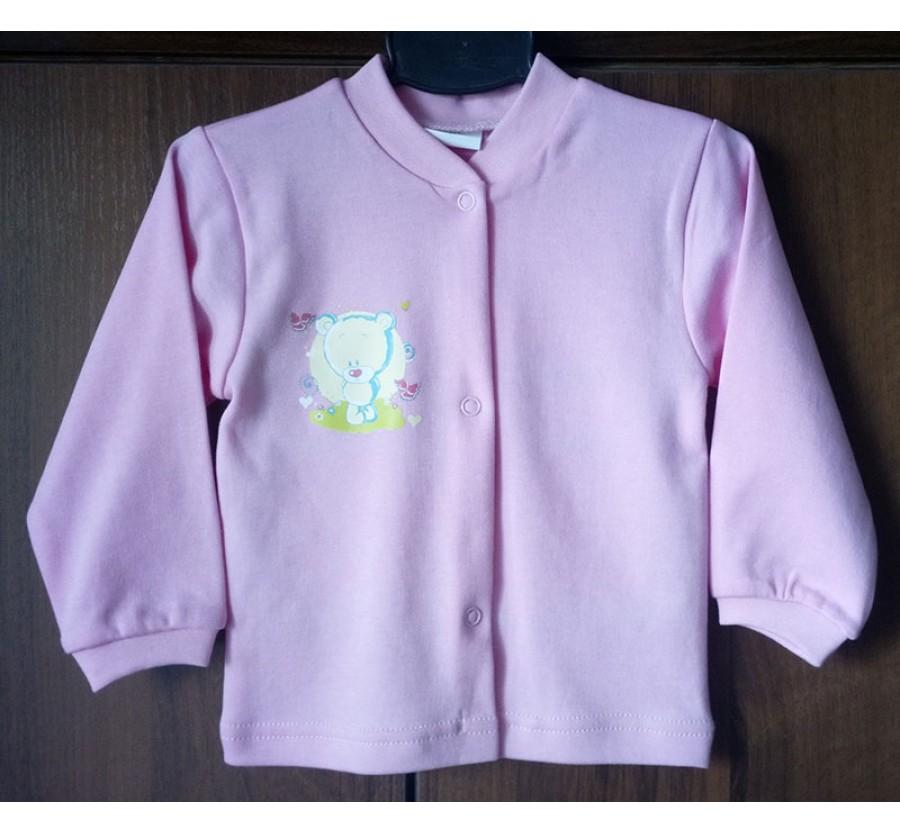 Кофточка однотонная ТМ Little angel, Интерлок (Трикотаж хлопок 100%) на кнопках, 74, 80 см, цвет Розовый