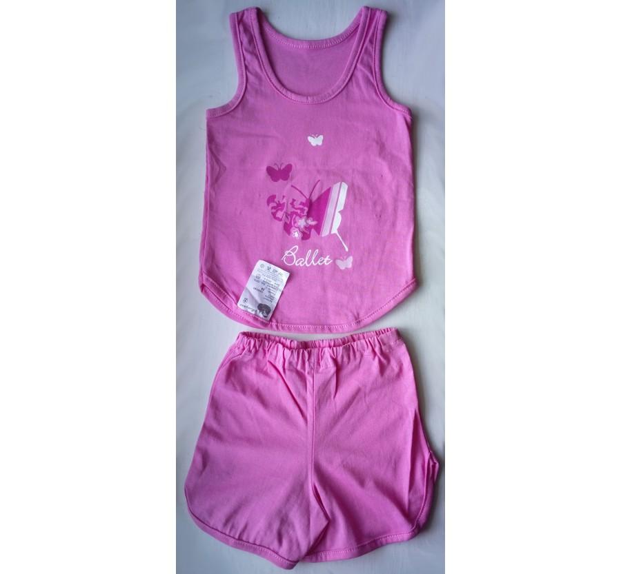 Комплект майка и шорты, Кулир (тонкий Трикотаж хлопок 100%), размер 26 (1 год), цвет Розовый