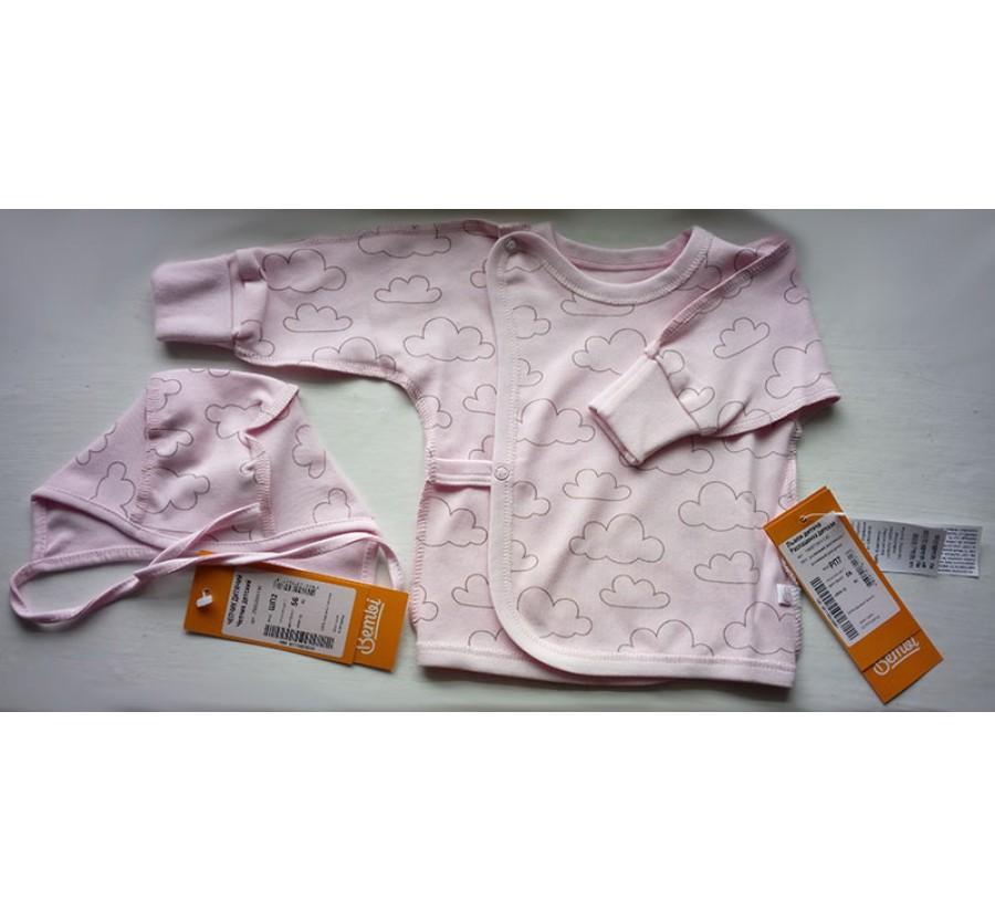 Комплект Бемби Интерлок (Трикотаж Хлопок 100%), 56 (на рост 58 см - 1/1,5 мес.), цвет Розовый с тучками