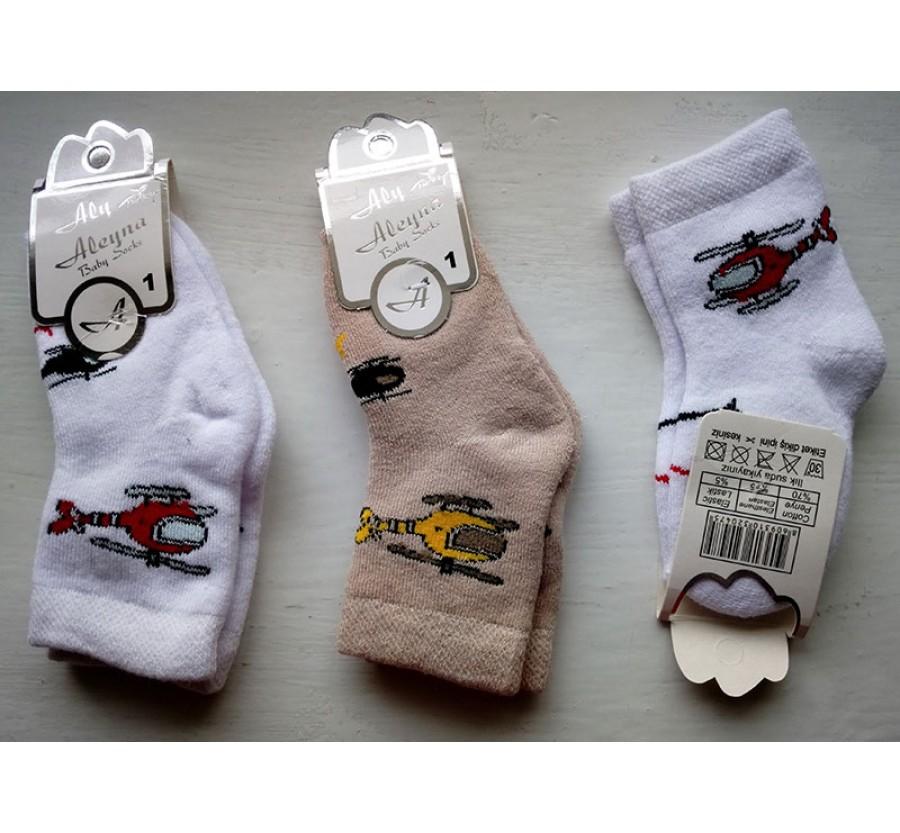 Носки махровые для новорождённых, возраст от 0 до 4 мес, производство Турция, цвет Белый, Бежевый