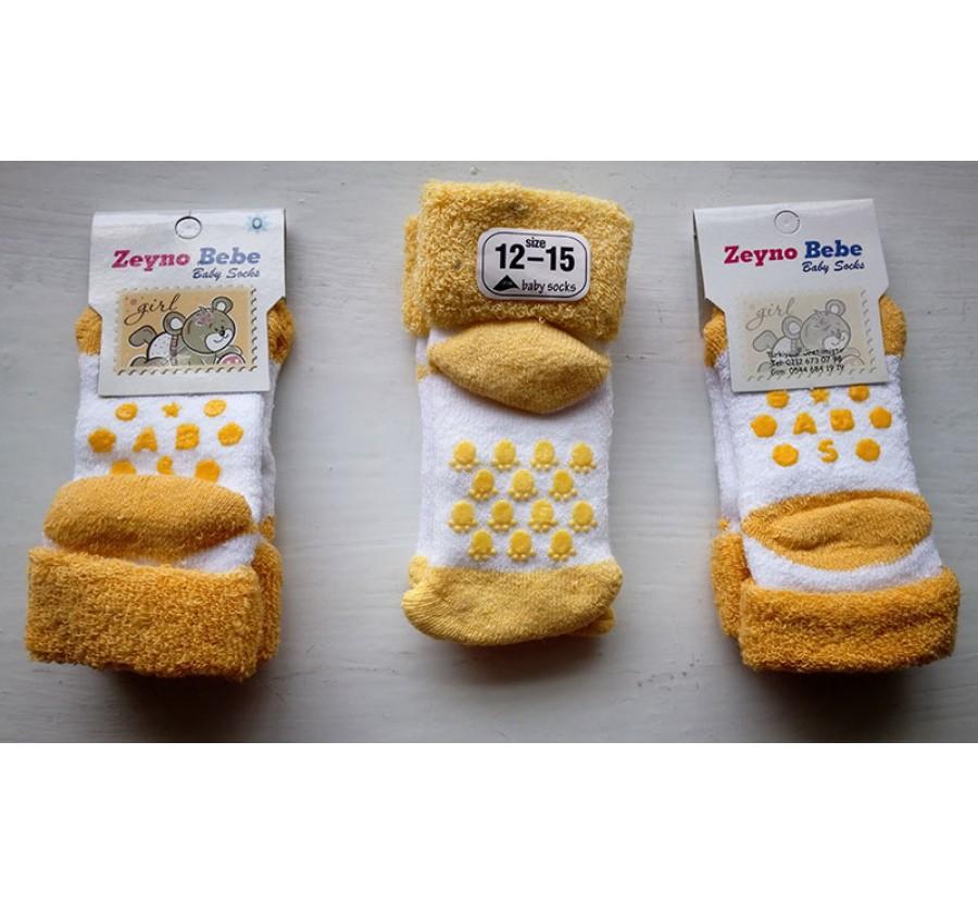 Носки махровые для новорождённых, возраст от 0 до 3 месяцев, цвет Белый с жёлтыми вставками.