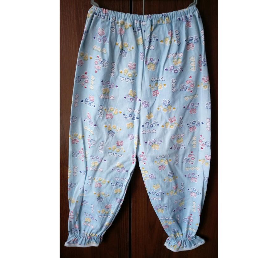 Пижама, Кулир (тонкий трикотаж хлопок 100%), на рост 110-116 см, цвет Голубой с розовым рисунком. ПИЖАМА СНЯТА С ВИТРИНЫ.